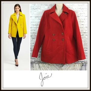 Joie Red Remi Wool Pea Double-breasted Coat